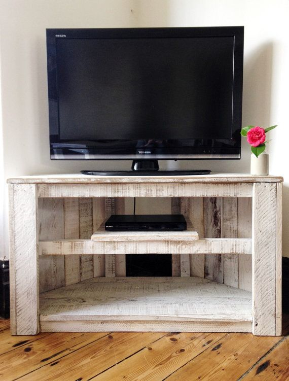 Handmade Rustic Corner Table/tv Stand With Shelf. Reclaimed And within Popular White Corner Tv Cabinets