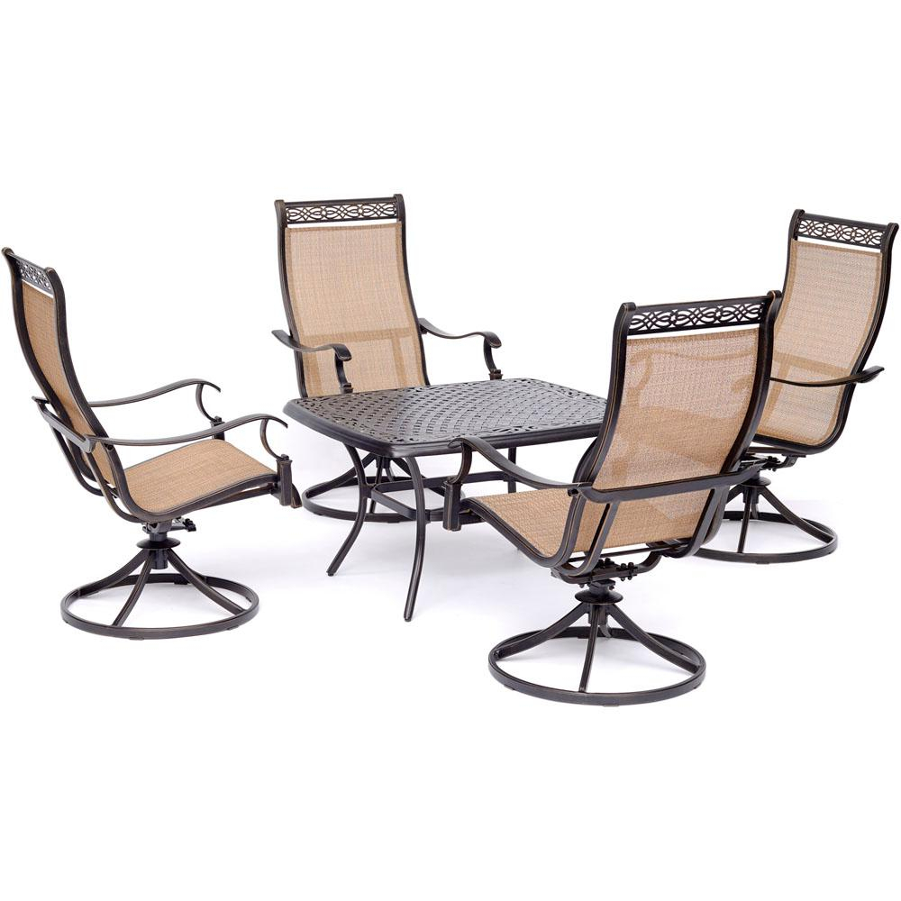 Hanover Manor 5 Piece Aluminmum Patio Conversation Set With 4 Swivel Inside Manor Grey Swivel Chairs (Image 6 of 25)