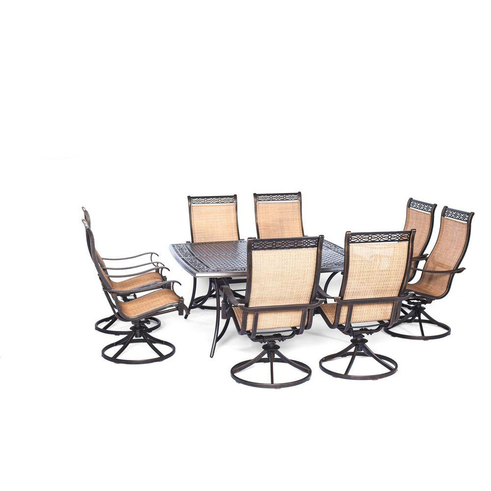 Hanover Manor 9 Piece Square Patio Dining Set With Eight Swivel With Regard To Manor Grey Swivel Chairs (Image 8 of 25)