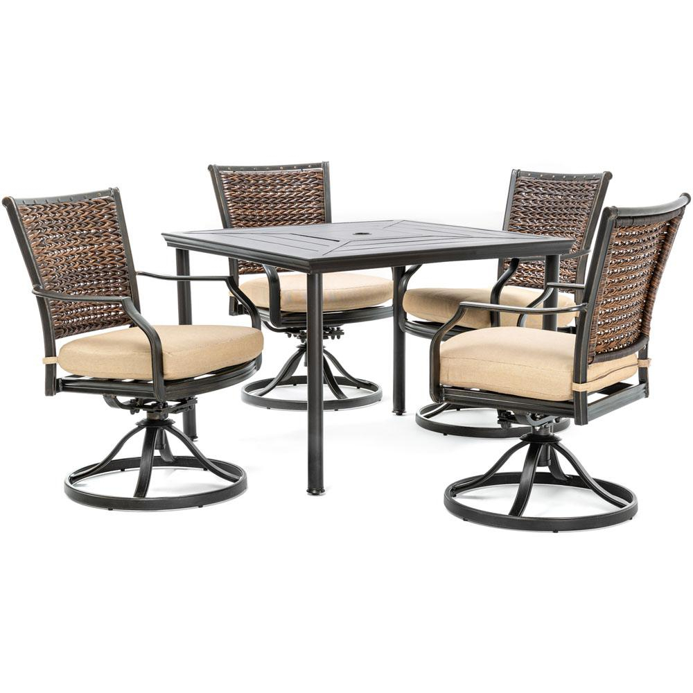 Hanover Mercer 5-Piece Aluminum Outdoor Dining Set With Country Cork with regard to Mercer Foam Swivel Chairs