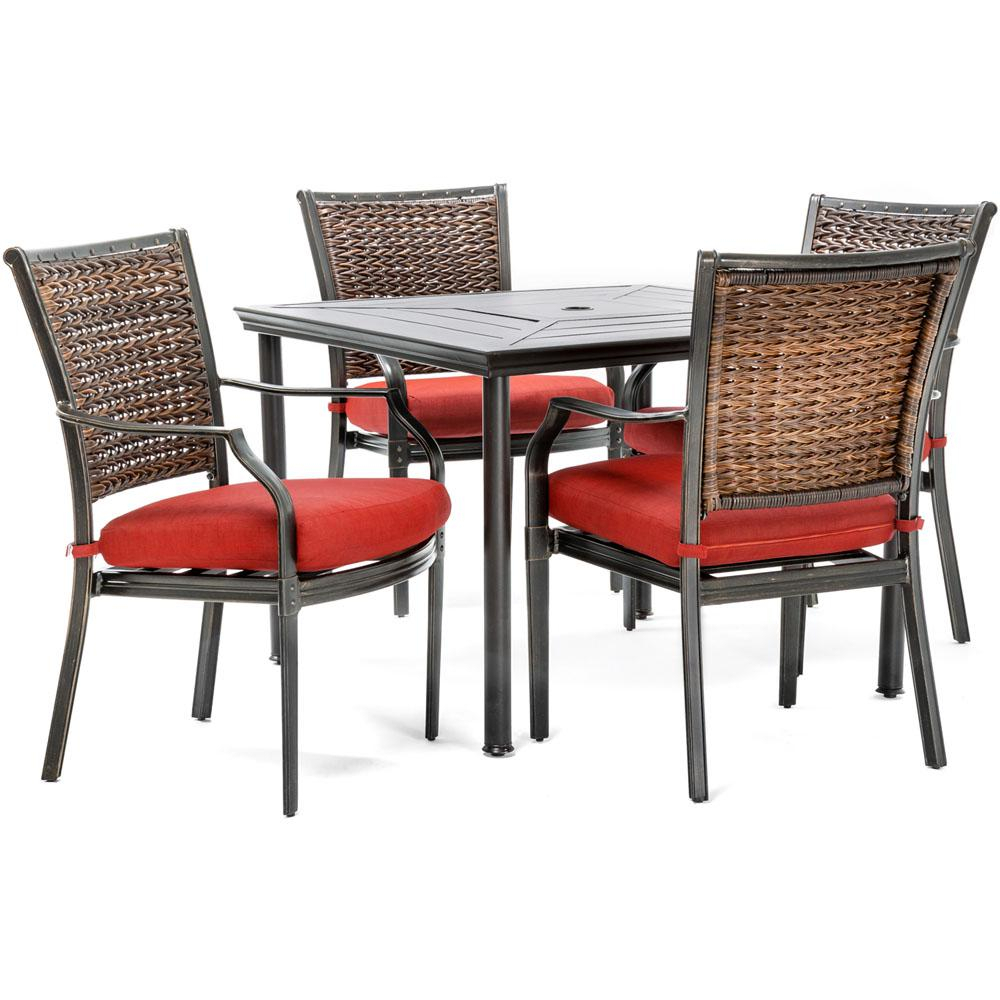 Hanover Mercer 5 Piece Aluminum Outdoor Dining Set With Crimson Red Throughout Mercer Foam Swivel Chairs (View 14 of 25)