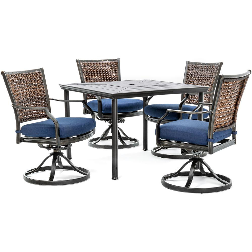 Hanover Mercer 5 Piece Aluminum Outdoor Dining Set With Navy Blue For Mercer Foam Swivel Chairs (View 11 of 25)
