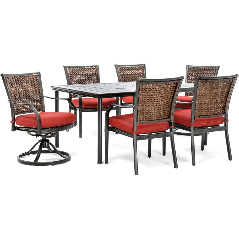 Hanover Mercer 7 Piece Aluminum Outdoor Dining Set With Crimson Red Inside Mercer Foam Swivel Chairs (Photo 5 of 25)