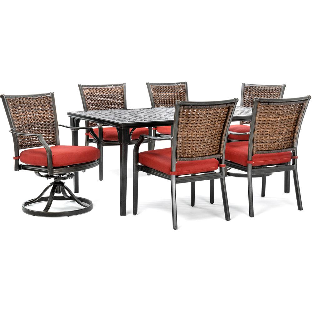 Hanover Mercer 7 Piece Aluminum Outdoor Dining Set With Crimson Red Within Mercer Foam Oversized Sofa Chairs (View 12 of 25)