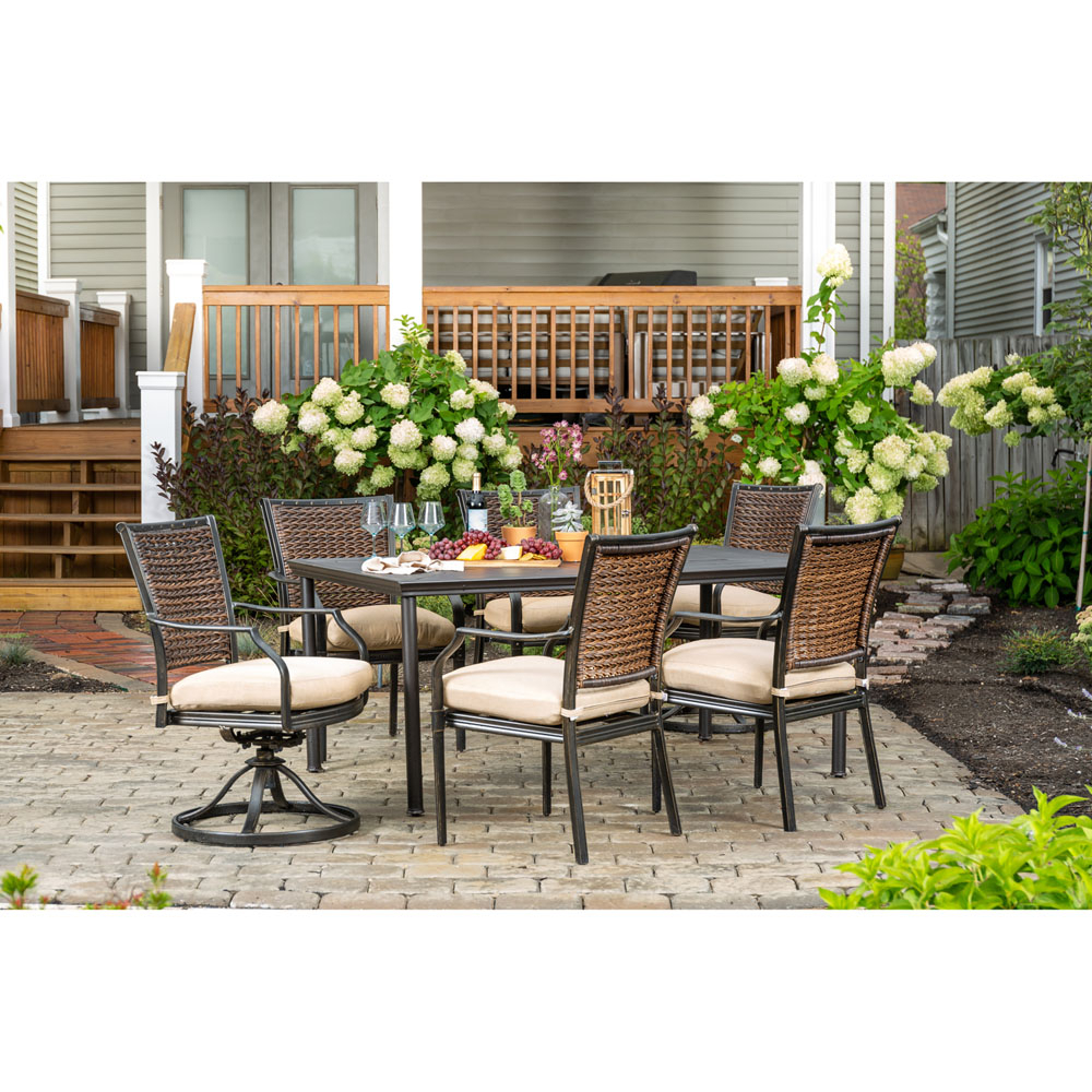 Hanover Mercer 7 Piece Patio Dining Set In Country Cork With 4 For Mercer Foam Swivel Chairs (View 21 of 25)
