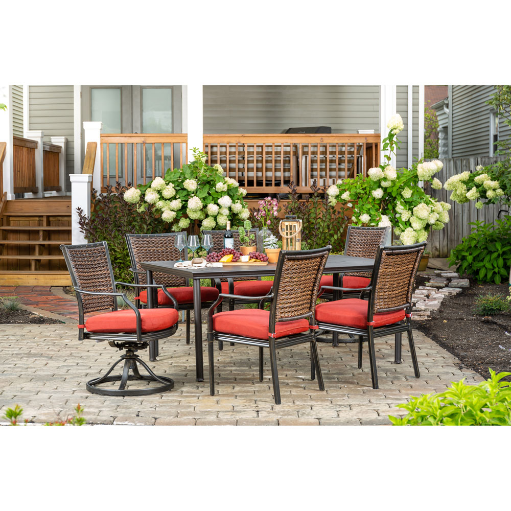 Hanover Mercer 7 Piece Patio Dining Set In Crimson Red With 4 Dining Intended For Mercer Foam Swivel Chairs (Photo 20 of 25)