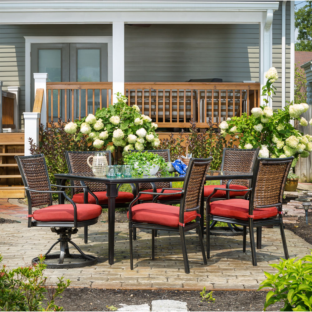 Hanover Mercer 7 Piece Patio Dining Set In Crimson Red With 4 Dining Throughout Mercer Foam Swivel Chairs (View 22 of 25)