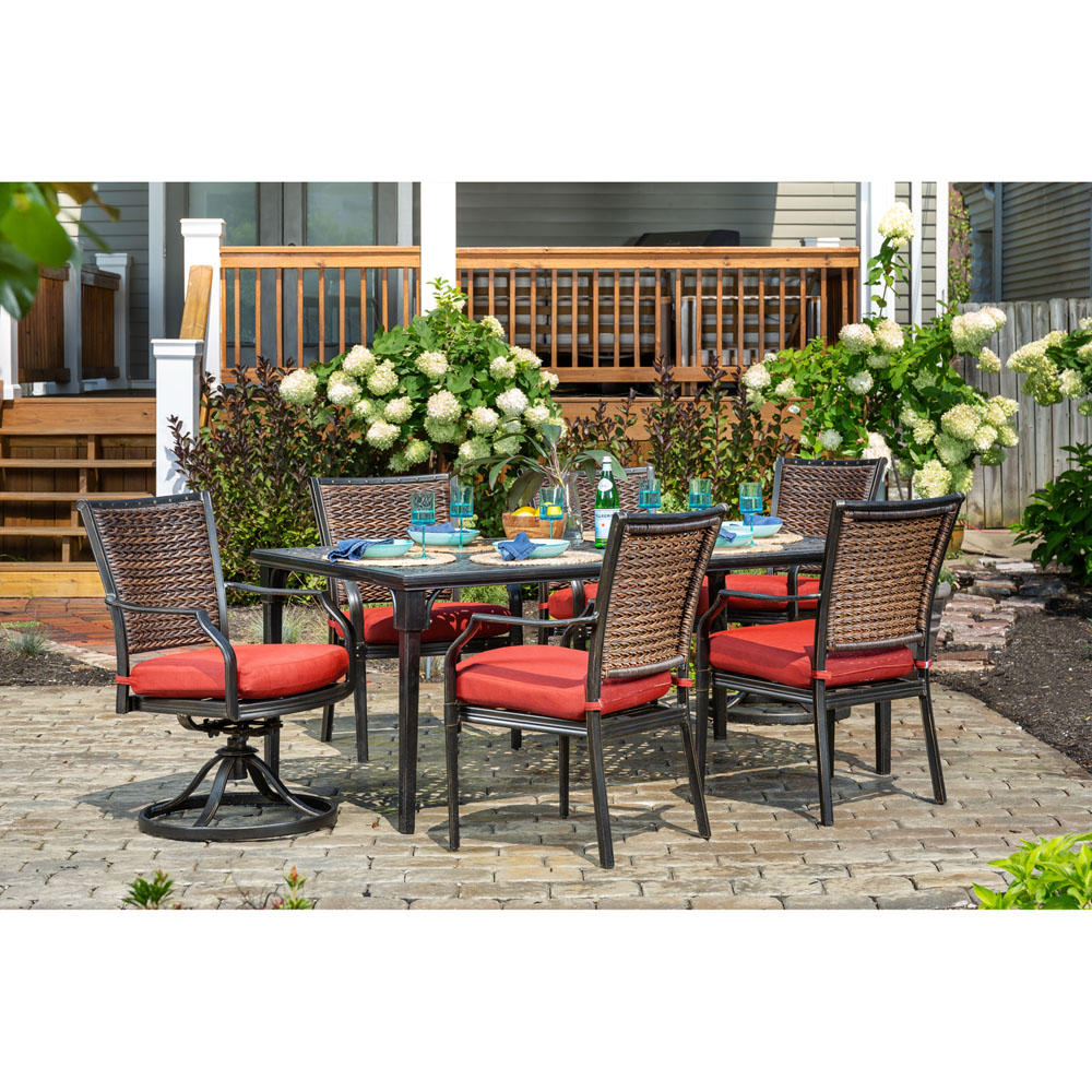 Hanover Mercer 7 Piece Patio Dining Set In Crimson Red With 4 With Mercer Foam Swivel Chairs (View 15 of 25)