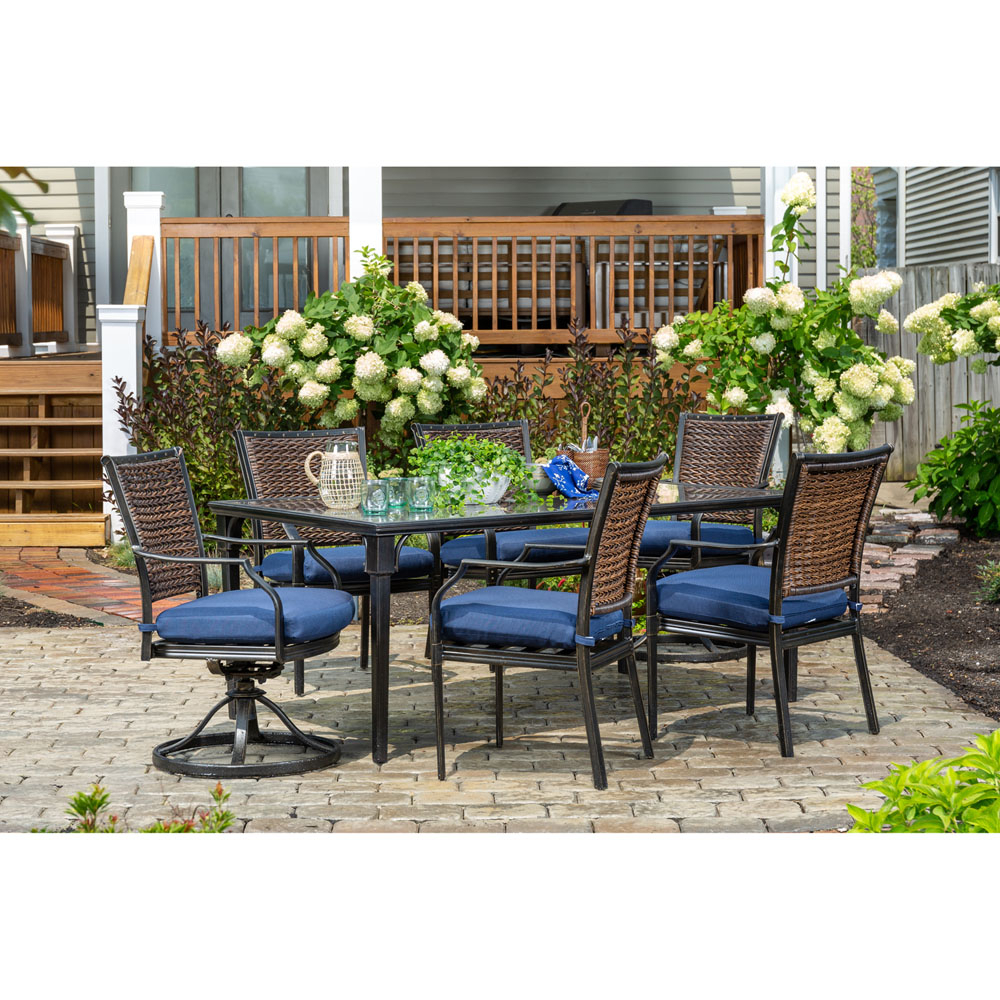 Hanover Mercer 7 Piece Patio Dining Set In Navy Blue With 4 Dining Regarding Mercer Foam Swivel Chairs (View 12 of 25)