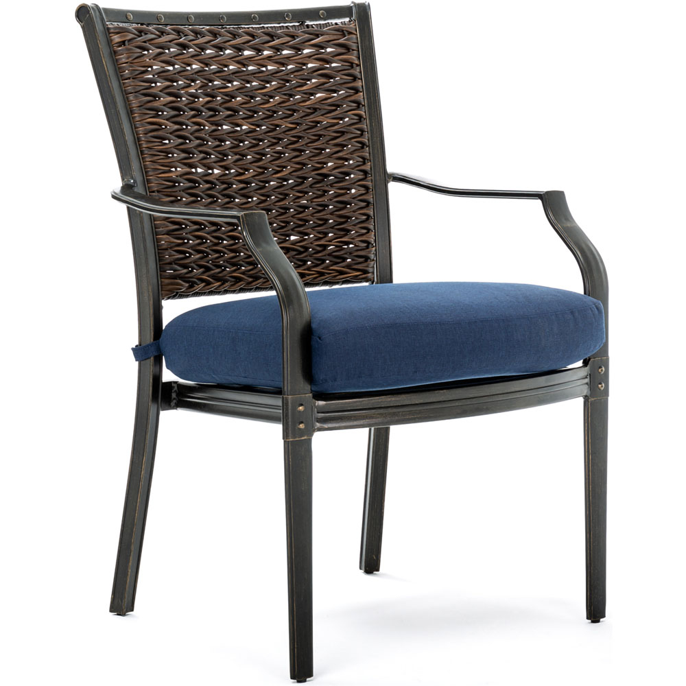 Hanover Mercer 7 Piece Patio Dining Set In Navy Blue With 4 Within Mercer Foam Swivel Chairs (View 24 of 25)