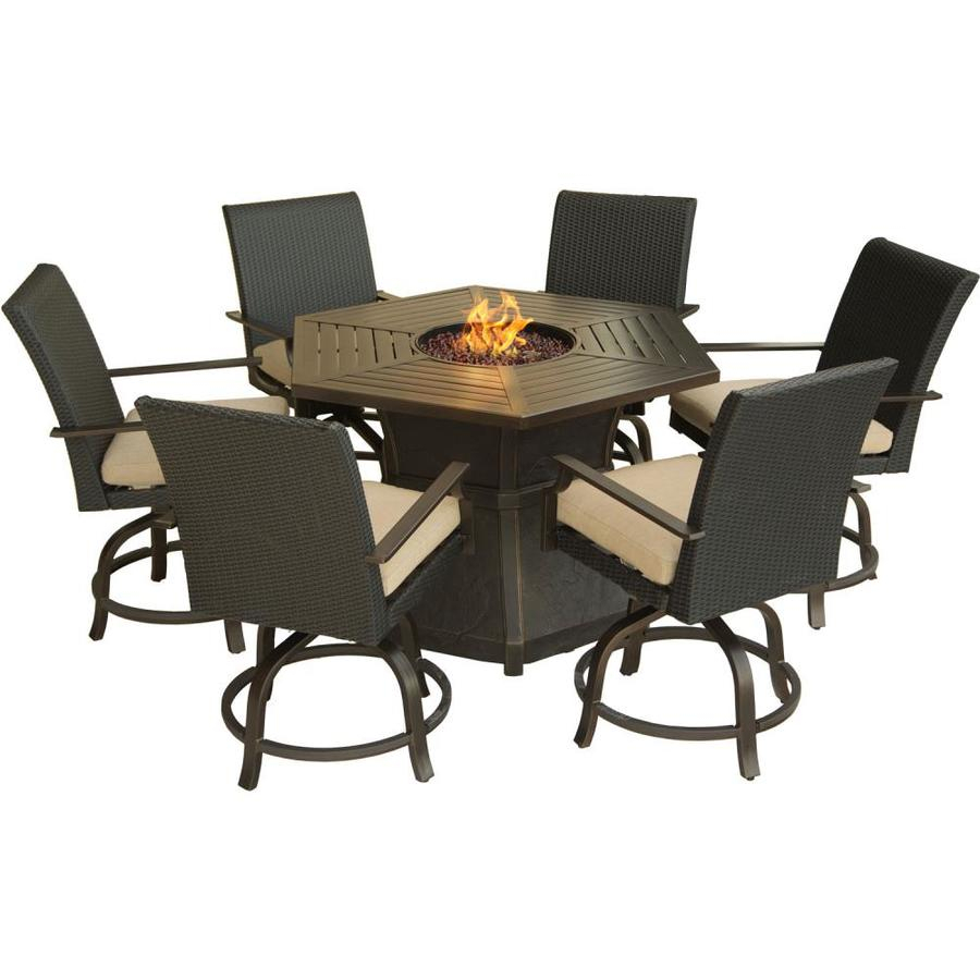 Hanover Outdoor Furniture Aspen Creek 7 Piece Brown Metal Frame With Regard To Aspen Swivel Chairs (Photo 8 of 25)