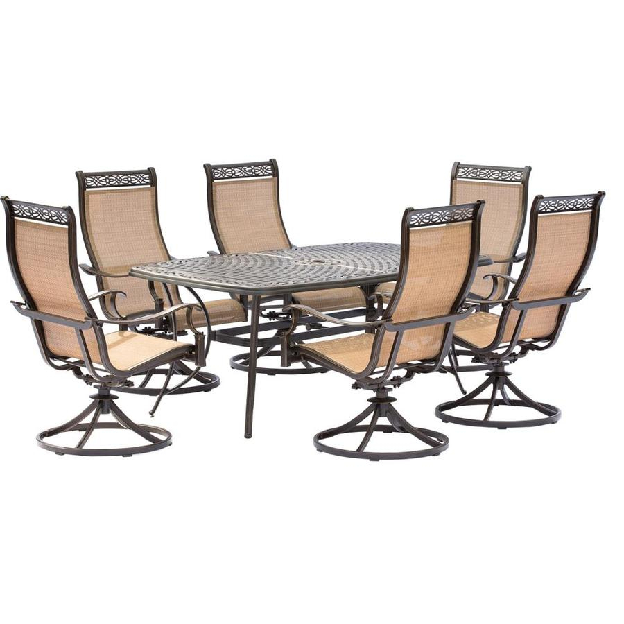 Hanover Outdoor Furniture Manor 7 Piece Bronze Metal Frame Patio Set Throughout Manor Grey Swivel Chairs (Image 9 of 25)