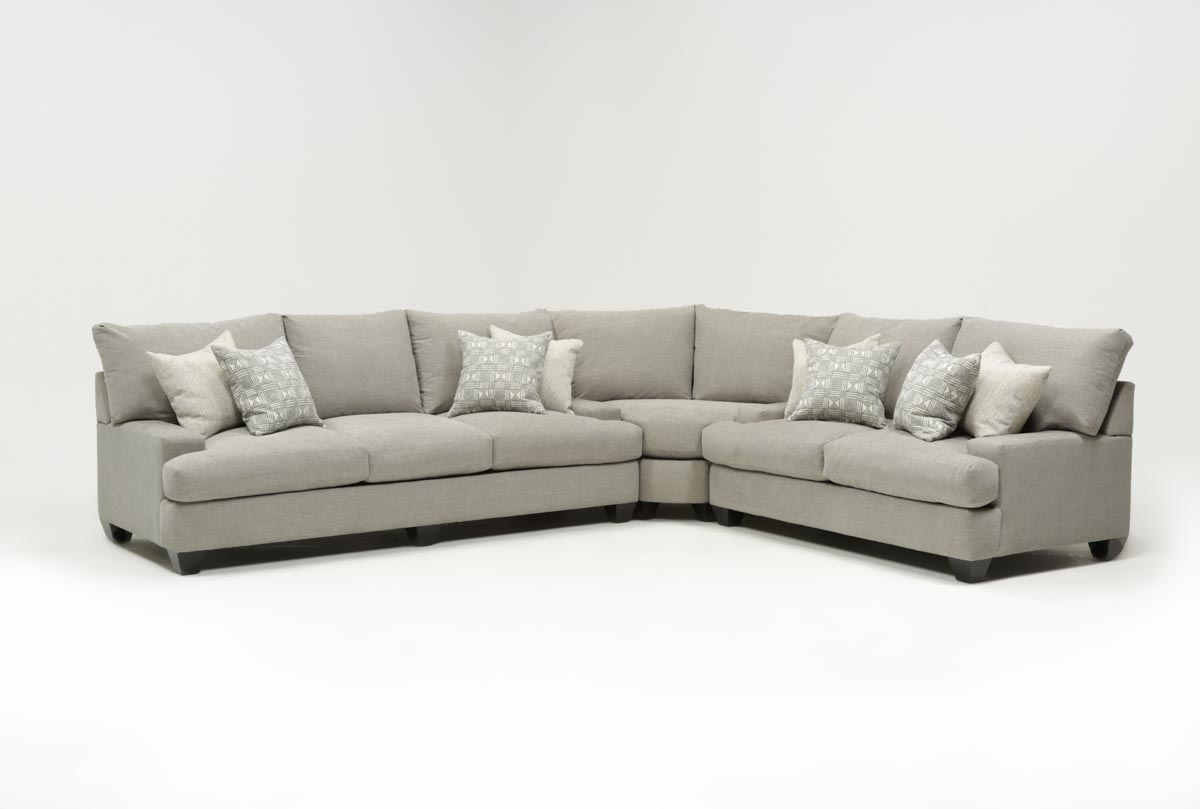 Harper Down 3 Piece Sectional | Living Spaces intended for Harper Down Oversized Sofa Chairs