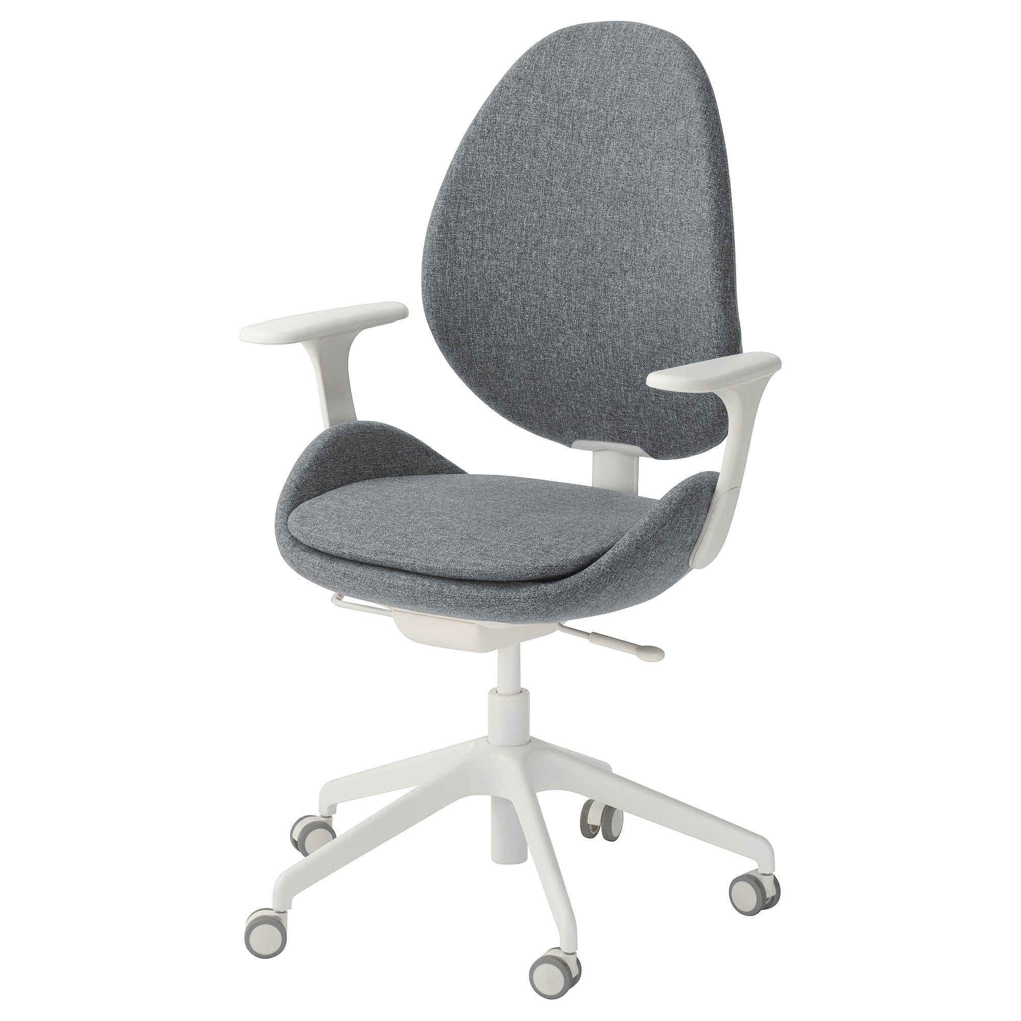 Hattefjäll Swivel Chair With Armrests Gunnared Medium Grey/white – Ikea Inside Grey Swivel Chairs (View 18 of 25)