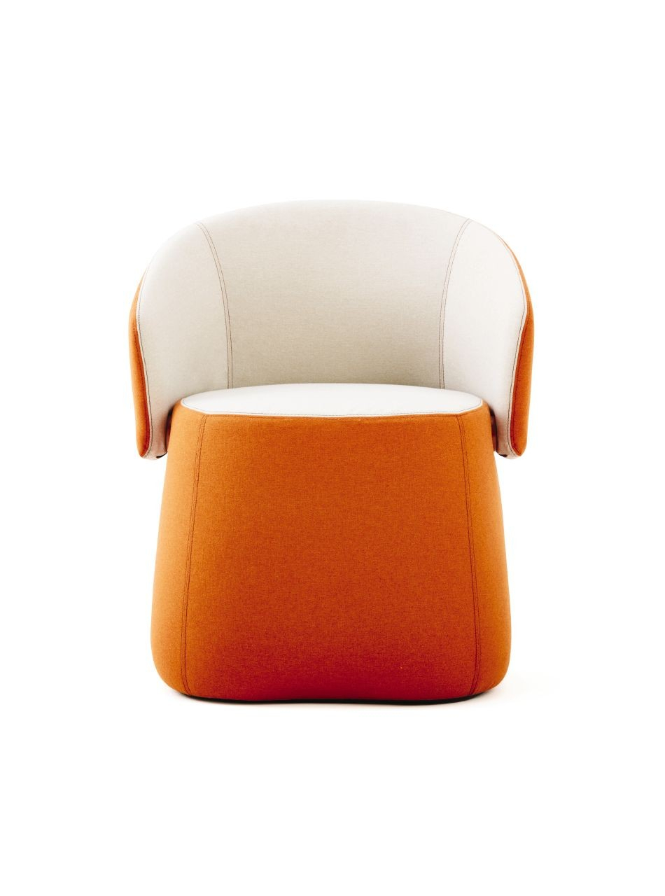 Haworth Openest Collection Chick Pouf With Back – Modern Planet In Chadwick Tomato Swivel Accent Chairs (Photo 6 of 25)
