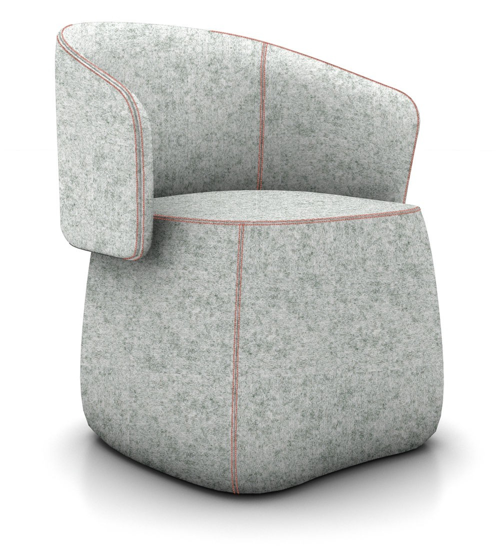 Haworth Openest Collection Chick Pouf With Back - Modern Planet in Chadwick Tomato Swivel Accent Chairs