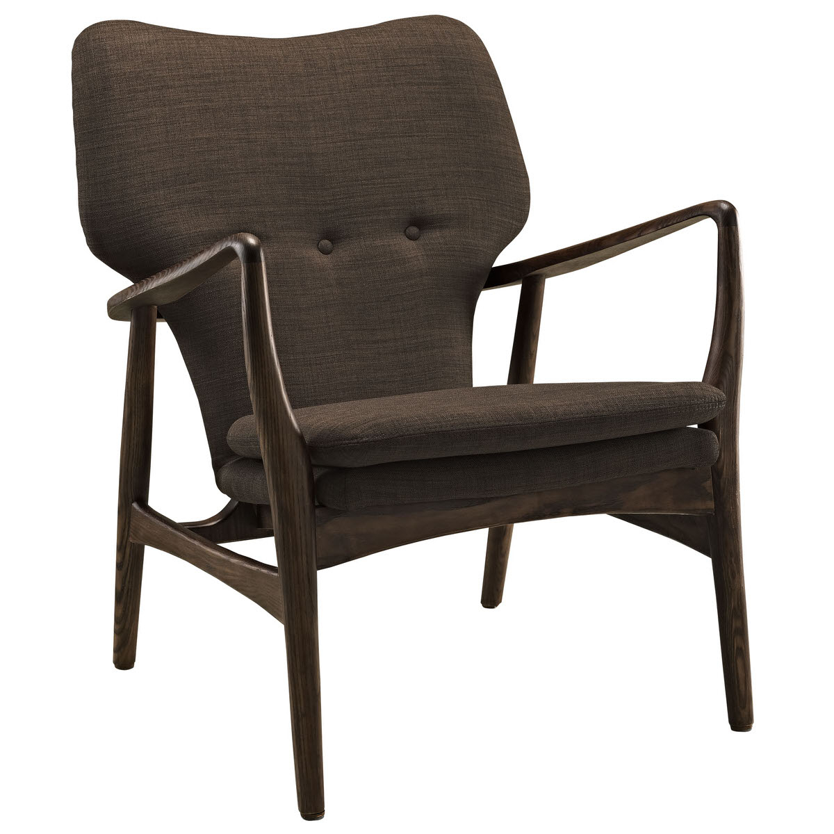 Heed Upholstered Lounge Chair Walnut Brownmodway Throughout Revolve Swivel Accent Chairs (View 7 of 23)