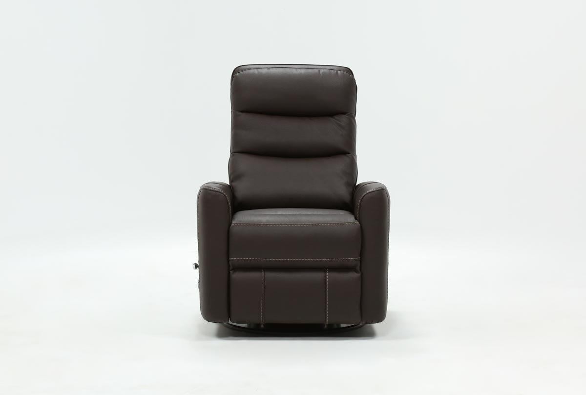 Hercules Chocolate Swivel Glider Recliner | Living Spaces pertaining to Hercules Oyster Swivel Glider Recliners
