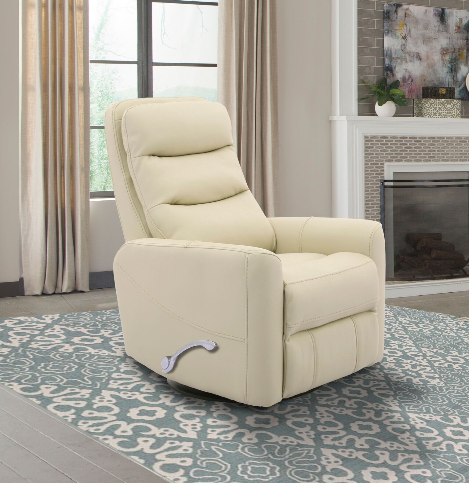 Hercules -Oyster- Swivel Glider Recliner With Articulating Headrest for Hercules Chocolate Swivel Glider Recliners