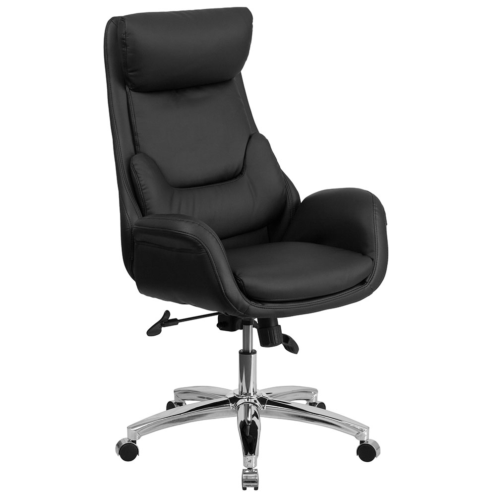 High Back Black Leather Executive Swivel Office Chair With Navy Blue for Swivel Tobacco Leather Chairs
