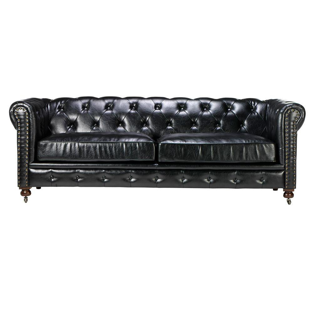 Home Decorators Collection Gordon Black Leather Sofa-0849400700 in Gordon Arm Sofa Chairs