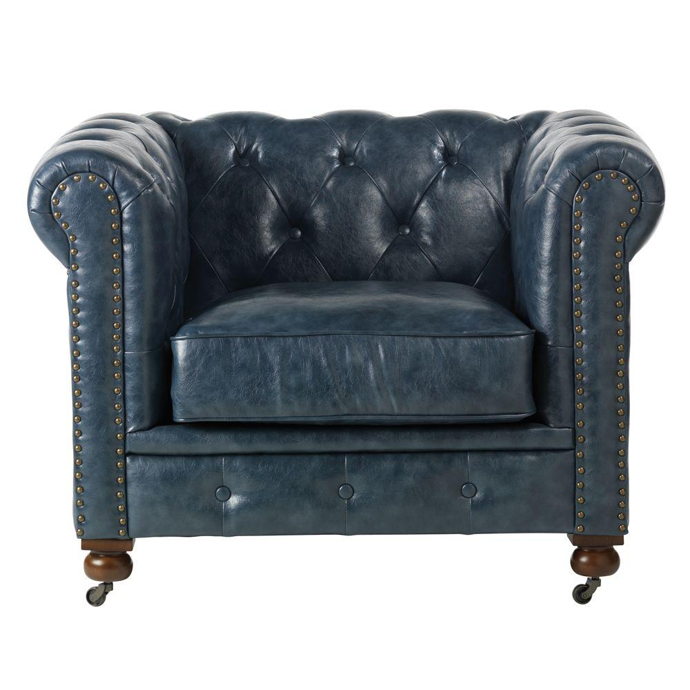 Home Decorators Collection Gordon Blue Leather Arm Chair 0849600310 With Regard To Gordon Arm Sofa Chairs (View 3 of 25)