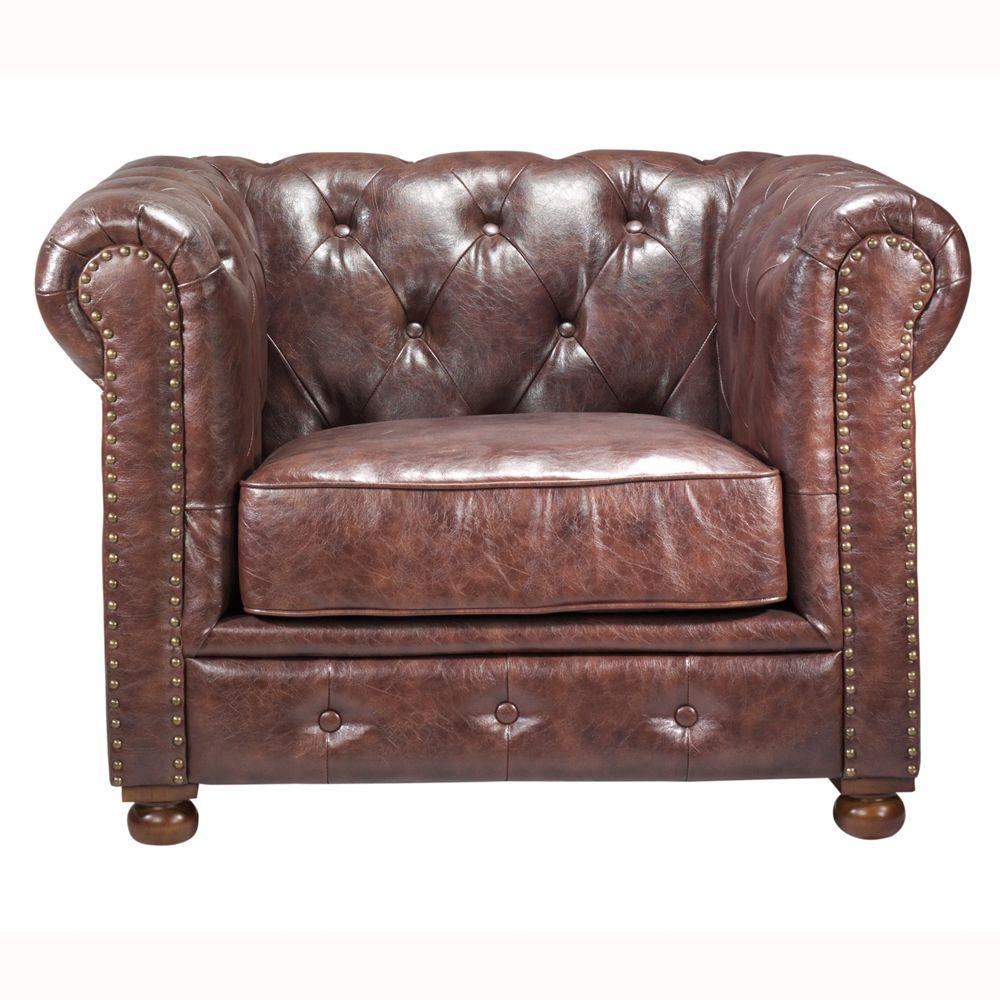Home Decorators Collection Gordon Brown Leather Arm Chair 0849600760 Pertaining To Gordon Arm Sofa Chairs (Photo 5 of 25)