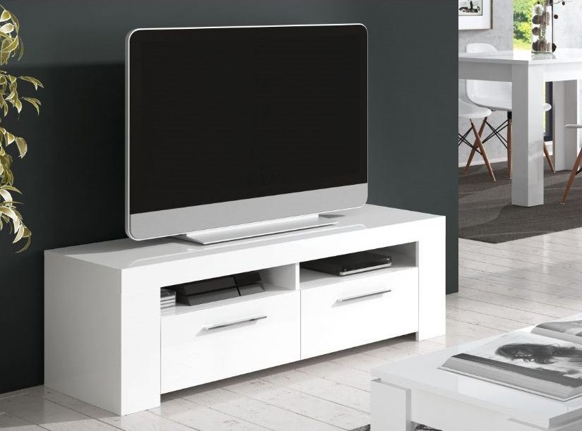 Home Est Crystal White Gloss Tv Cabinet Entertainment Unit Inside Fashionable Gloss White Tv Cabinets (Image 5 of 25)