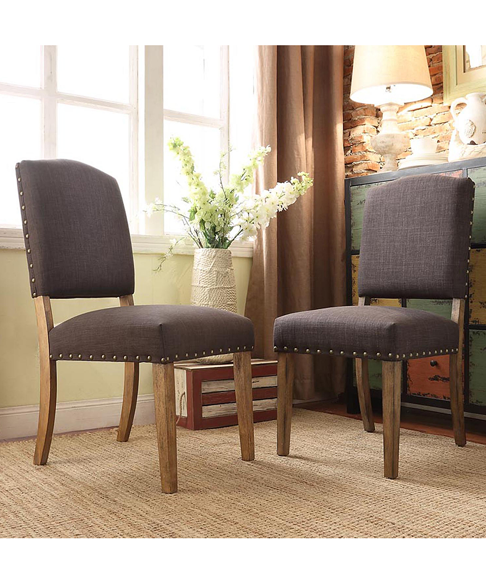 Homebelle Dark Gray Mansfield Dining Chair – Set Of 2 | Zulily Pertaining To Mansfield Beige Linen Sofa Chairs (Image 5 of 25)