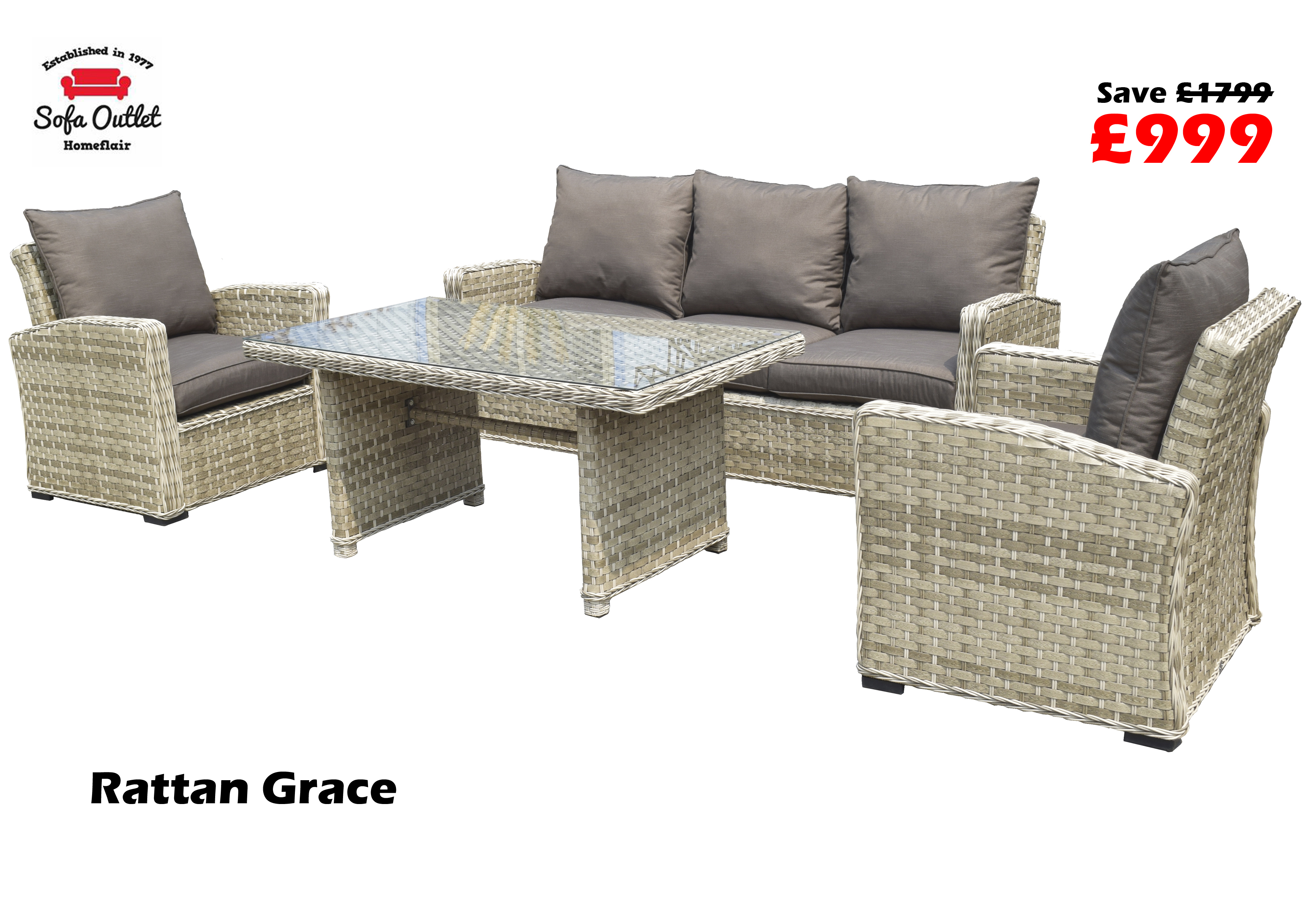 Homeflair Rattan Garden Furniture Grace Grey/brown 3 Seater Sofa + Inside Grace Sofa Chairs (Image 19 of 25)