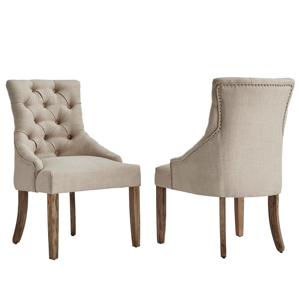 Homesullivan Marjorie Beige Linen Button Tufted Dining Chair (Set Of Pertaining To Mansfield Beige Linen Sofa Chairs (Image 6 of 25)