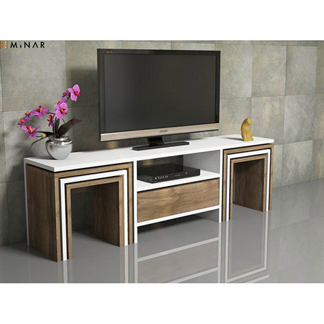House Line Zygo 6 Zigon Sehpalı Tv Ünitesi - Ceviz / Beyaz in Most Recent Ducar 64 Inch Tv Stands