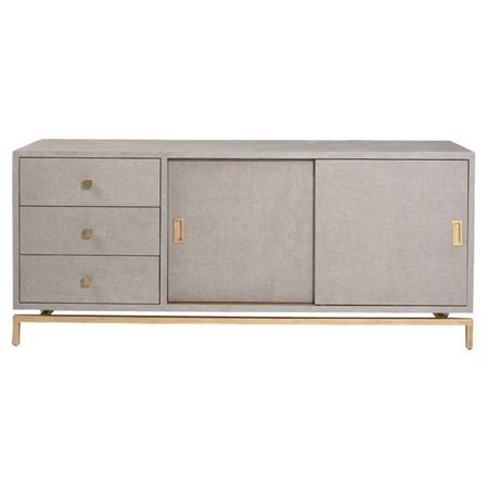 I Pinned This Studio A Alexander Media Cabinet In Gold From The Dec Pertaining To Favorite Grey Shagreen Media Console Tables (Image 9 of 25)