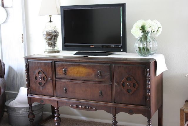 I Saw A Tv Mounted Over An Antique Sideboard In A Restaurant And Don Regarding Well Known Sideboard Tv Stands (Image 11 of 25)