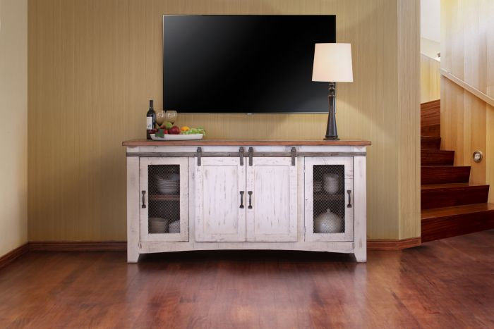 "Ifd Pueblo 70"" Tv Stand In White Ifd360Stand 70 Within Current Casey Umber 74 Inch Tv Stands (Image 17 of 25)"