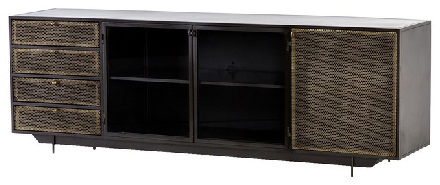Featured Photo of Gunmetal Perforated Brass Media Console Tables