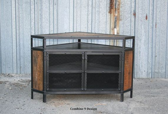 Industrial Corner Unit With Reclaimed Wood. Tv Stand. Urban, Modern pertaining to Well known Industrial Corner Tv Stands
