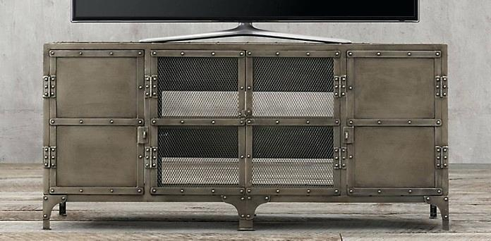 Industrial Rolling Media Cabinet Tool Chest Collection Aged Gunmetal In Recent Gunmetal Media Console Tables (View 17 of 25)