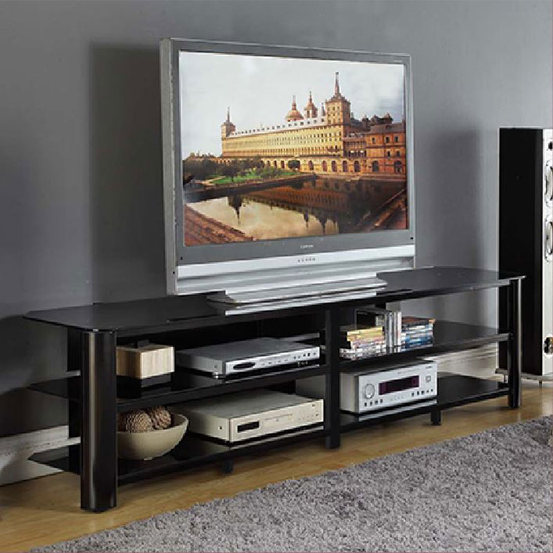 Innovex Oxford Series 82 Inch Flat Screen Tv Stand Black Glass Tpt83G29 With Regard To Fashionable Oxford 60 Inch Tv Stands (Image 11 of 25)