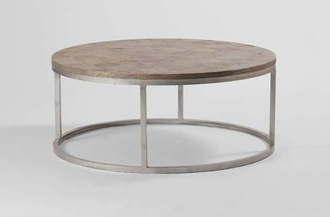 Inspiring Coffee Tables Round In Remarkable Industrial Table With Regarding Recent Elke Glass Console Tables With Brass Base (Image 15 of 25)