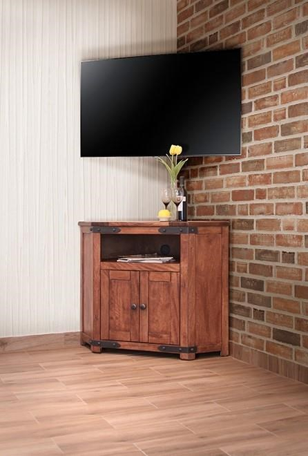 International Furniture Direct Parota Ifd866Corn 2 Door Corner Tv In Well Liked Wooden Corner Tv Stands (View 4 of 25)