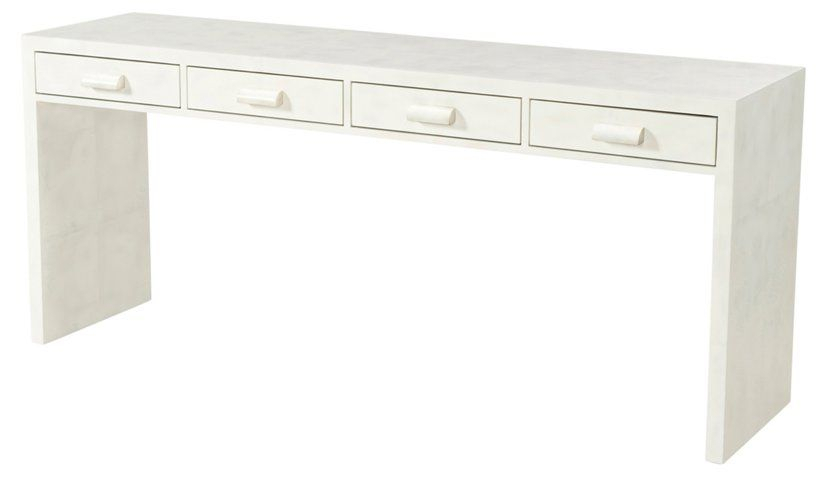 """Irwindale 70"""" Console, Eggshell White – Side Tables – Living Room With Fashionable Parsons White Marble Top & Brass Base 48X16 Console Tables (Image 10 of 25)"""