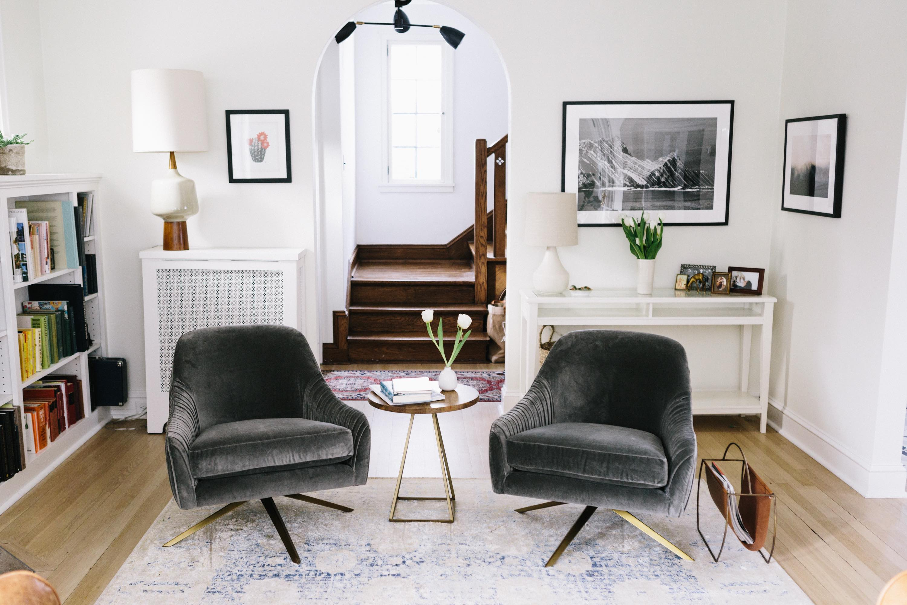 It Takes Two, Or A West Elm Roar + Rabbit Giveaway – Wit & Delight Within Loft Smokey Swivel Accent Chairs (View 21 of 25)