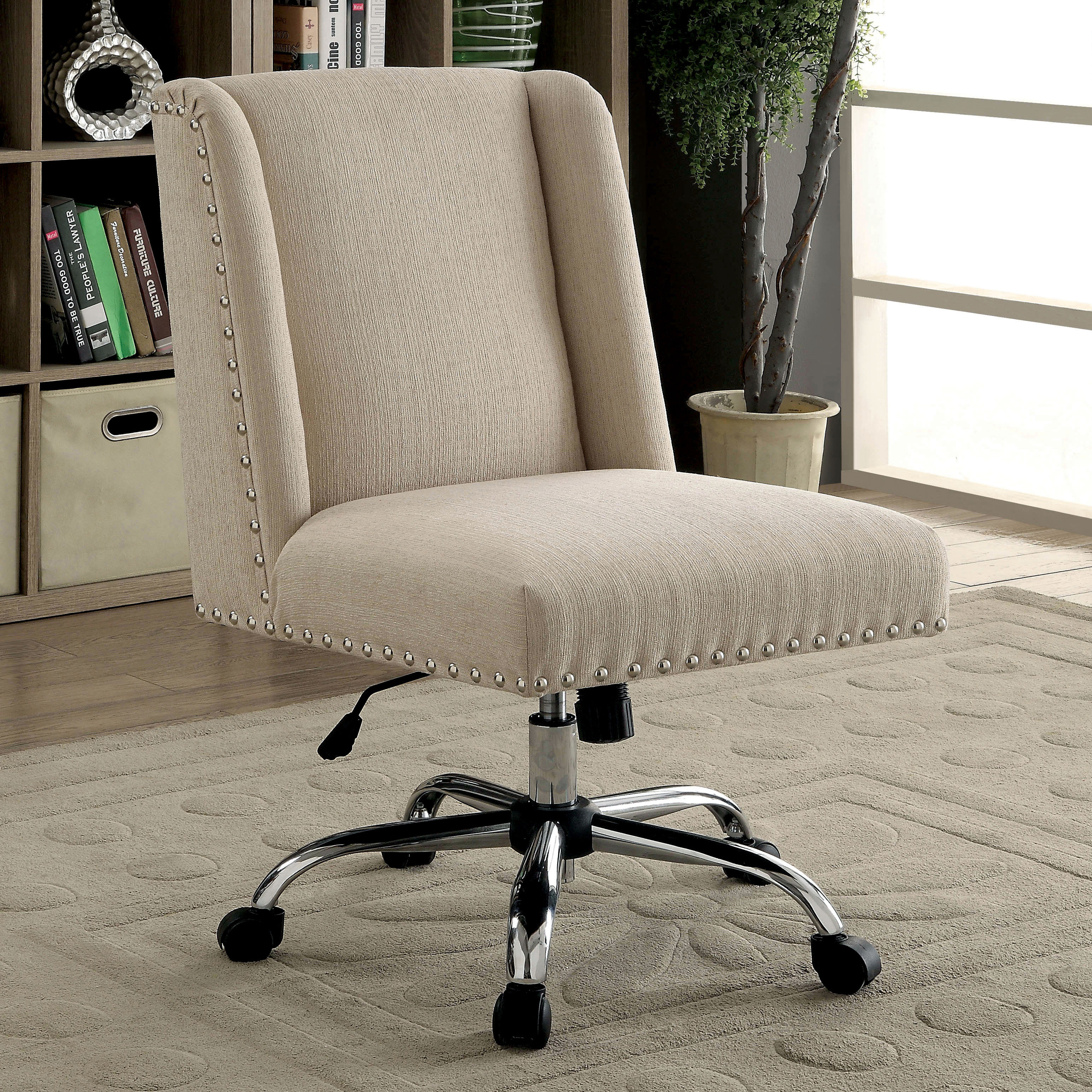 Ivy Bronx Corktown Contemporary Office Mid Back Desk Chair & Reviews With Regard To Katrina Beige Swivel Glider Chairs (View 21 of 25)