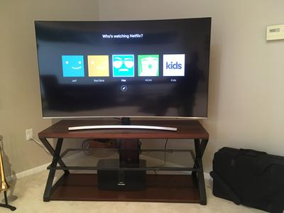 """Jaxon 3-In-1 Cognac Tv Stand For Tvs Up To 70"""" - Walmart for 2017 Jaxon 65 Inch Tv Stands"""