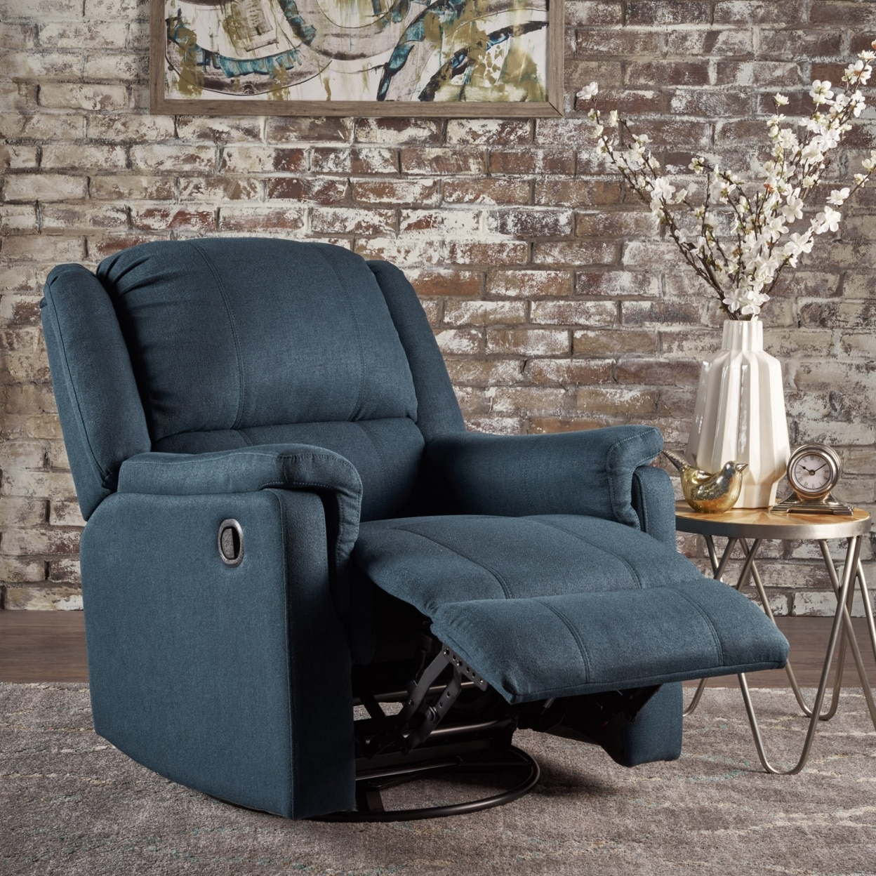 Jemma Tufted Fabric Swivel Gliding Recliner Chair In Living Room Intended For Decker Ii Fabric Swivel Rocker Recliners (Image 10 of 25)