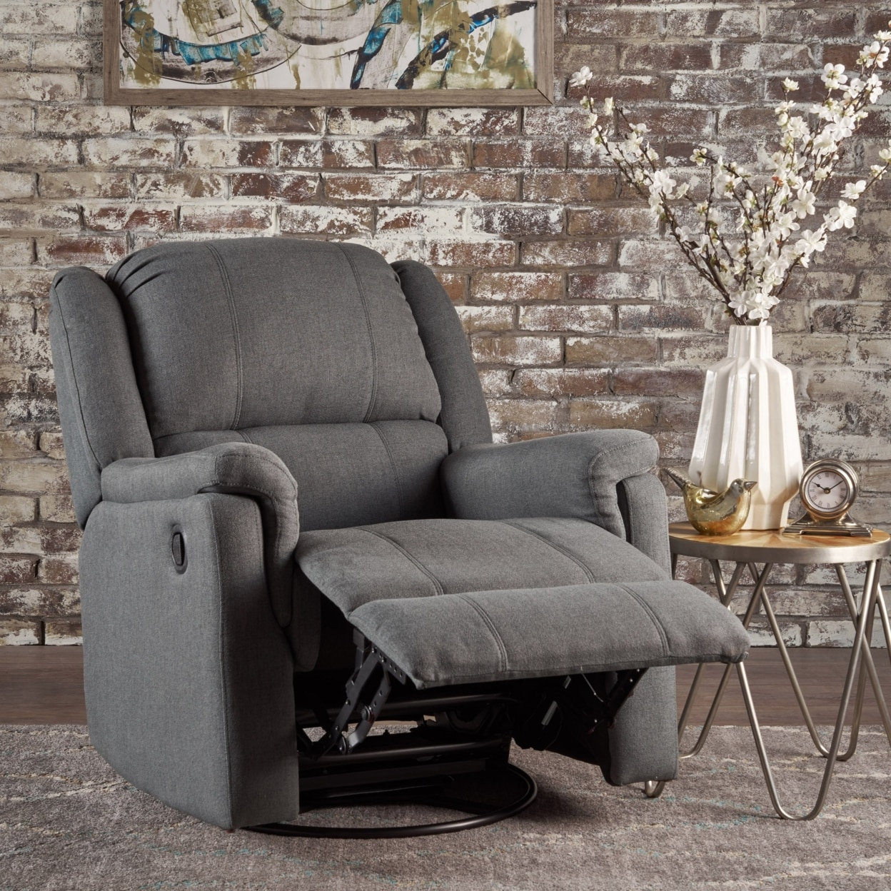 Jemma Tufted Fabric Swivel Gliding Recliner Chair In Living Room Within Decker Ii Fabric Swivel Glider Recliners (Image 18 of 25)