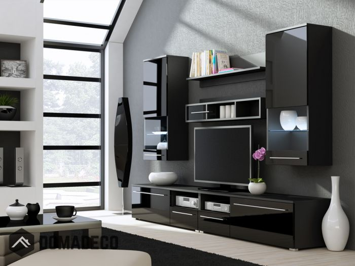 Kansas 3 – High Gloss Black Tv Wall Unit Intended For Fashionable Black Gloss Tv Wall Unit (Image 8 of 25)