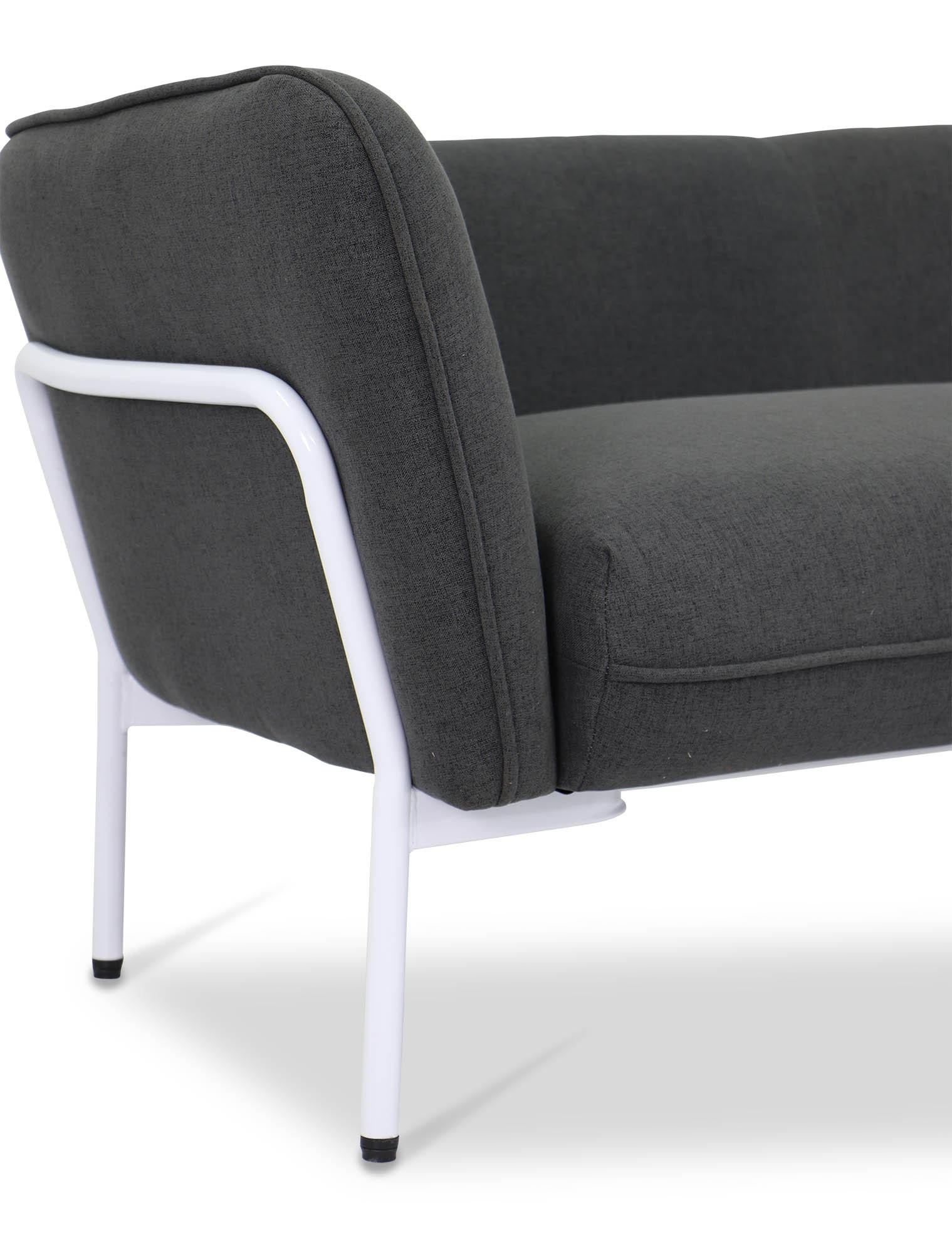 Karen Sofa In Dark Grey With White Iron Stand | Furniture & Home For Karen Sofa Chairs (Image 15 of 25)