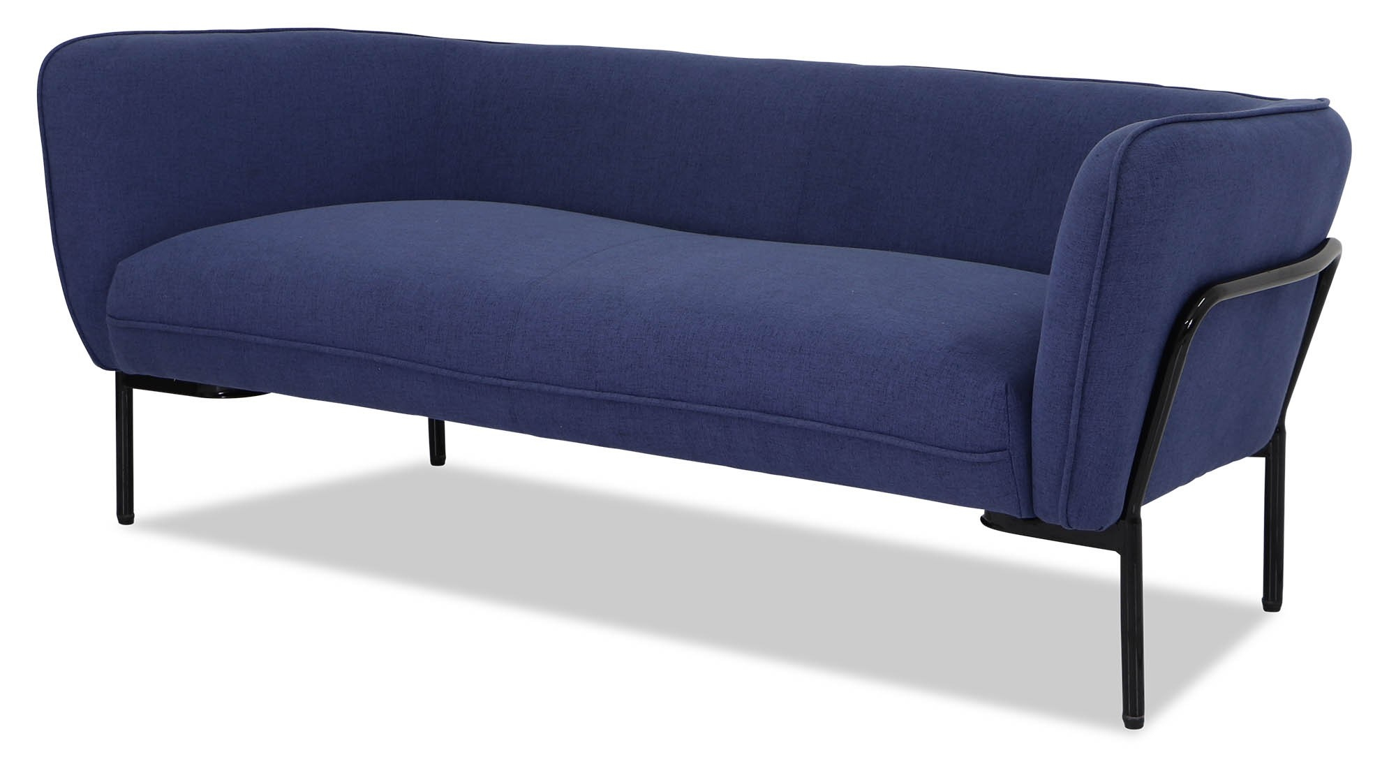 Karen Sofa In Ink Blue With Black Iron Stand | Furniture & Home With Karen Sofa Chairs (Image 17 of 25)